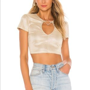 Crystal heart keyhole crop top in gold